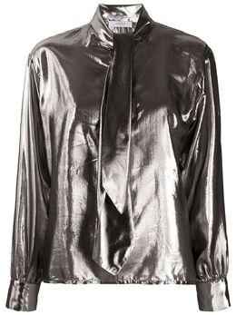 Roseanna рубашка с эффектом металлик и воротником на завязке LAMETWICE