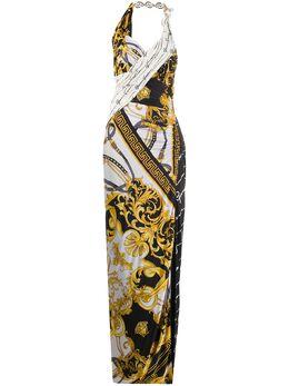 Versace длинное платье с принтом Baroque A85645A233251