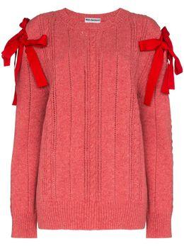 Molly Goddard трикотажный свитер с бантами MGSS2082BLANCHEJUMPER
