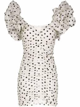Alessandra Rich платье мини в горох с пышными рукавами FAB2090F2784