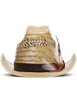 Saint Laurent соломенная шляпа с перьями 6044273YE49