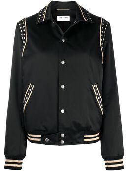 Saint Laurent куртка-бомбер с принтом 565626Y287S