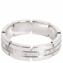 Cartier Tank Francaise 0.05 CTW Diamond 18K White Gold Band Ring Size 60