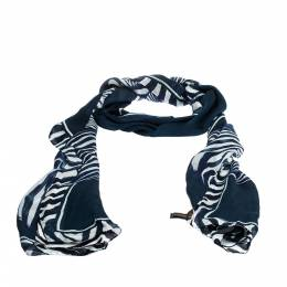 Roberto Cavalli Blue & White Abstract Print Silk Scarf 284648