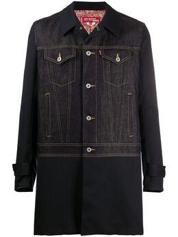 Junya Watanabe Man пальто с джинсовой вставкой WEC001S20
