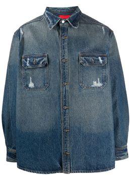 424 джинсовая рубашка с эффектом потертости 424CPSS200011D