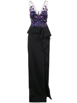 Marchesa Notte декорированное длинное платье N15G0357