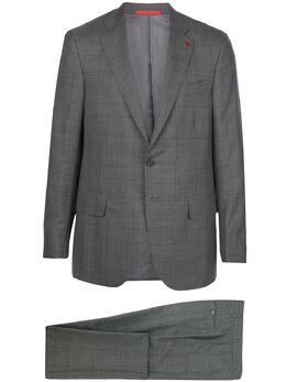 Isaia клетчатый костюм Isaia с однобортным пиджаком 8632L940