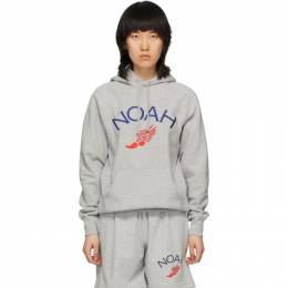 Noah Nyc Grey Wing Foot Embroidered Hoodie SS14SS20HGY