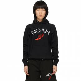 Noah Nyc Black Wing Foot Embroidered Hoodie SS14SS20BLK