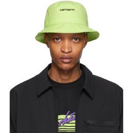 Carhartt Work In Progress Green Logo Script Bucket Hat I026217