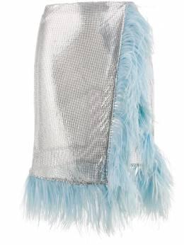 Christopher Kane юбка с перьями и эффектом металлик SS20SK1280CHAINMAILSILVER