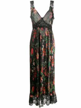 Paco Rabanne платье макси с кружевной вставкой и цветочным узором 19HCR0078P00004