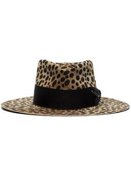 Nick Fouquet шляпа-федора с леопардовым принтом 527