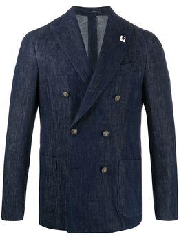 Lardini двубортный пиджак из денима EI926AGV91EIRL54252