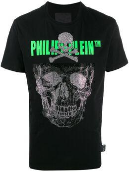Philipp Plein футболка с декором Skull и логотипом S20CMTK4248PJY002N