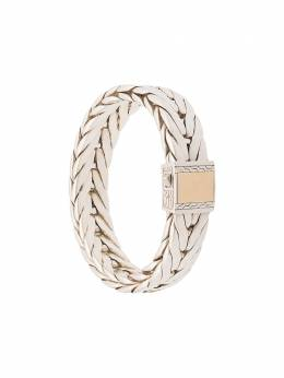 John Hardy Silver Modern Chain Extra-Large Bracelet with 18K Yellow Gold Clasp BMZ999536