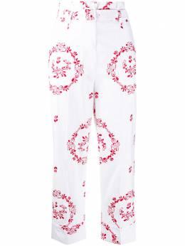 Simone Rocha укороченные брюки с присборенной талией и вышивкой 34300371