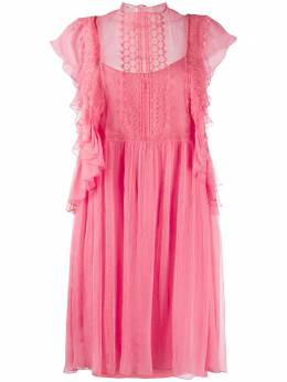 Alberta Ferretti платье-трапеция мини с оборками на рукавах A04361615