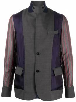 Sacai однобортный пиджак с контрастными вставками 2002182M