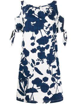 Talbot Runhof платье с цветочным принтом и вырезом KOLABO5FB25