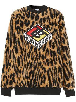 Burberry толстовка с логотипом и леопардовым принтом 8024493