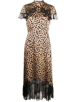 Saloni платье миди с леопардовым принтом 10310