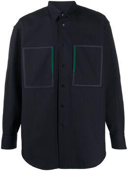 Jil Sander рубашка оверсайз с нашивками JSMQ742126MQ241800