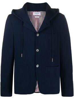 Thom Browne пиджак из сирсакера с капюшоном MJT206A01732