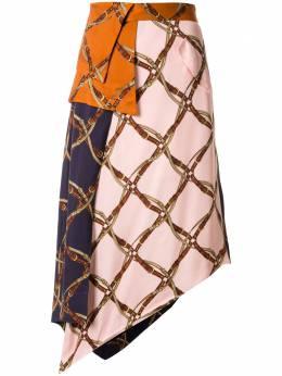 Jonathan Simkhai юбка асимметричного кроя в технике пэчворк 1203023W