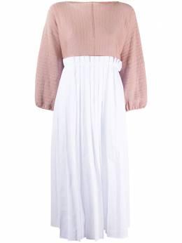 Maison Flaneur платье в стиле колор-блок со складками 20SMDTH220FE029