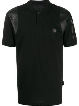 Philipp Plein рубашка-поло со вставкой из искусственной кожи S20CMTK4232PJY002N
