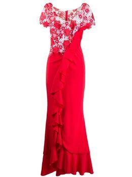 Talbot Runhof вечернее платье Boccacio с оборками и цветочным кружевом BOCCACIO1FS65