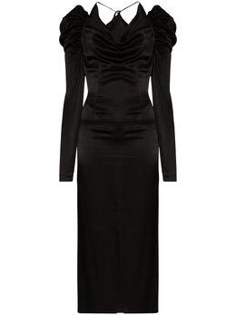 Materiel атласное платье миди SS20LAN844DRBK