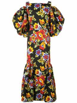 Carolina Herrera платье с открытыми плечами и цветочным принтом R2011N540PFF