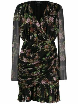 Giambattista Valli платье с запахом и цветочным принтом FWPVCI556342PRA