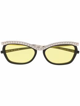 Gucci Eyewear солнцезащитные очки в прямоугольной оправе с кристаллами GG0617S003