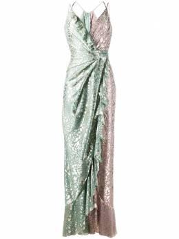 Talbot Runhof платье с эффектом металлик и драпировкой BOON2FK56