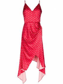 Haney платье-комбинация Olivia асимметричного кроя в горох SS208411