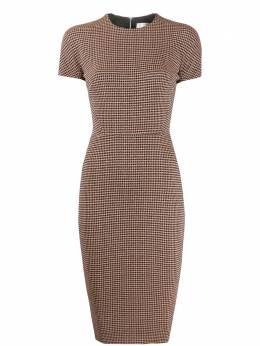 Victoria Beckham приталенное платье миди с ломаную клетку 1220WDR001356B