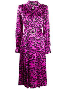 Alessandra Rich платье с леопардовым принтом и складками FAB2026F2730