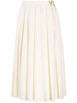 Valentino плиссированная юбка миди с логотипом TB3MD01M5AN