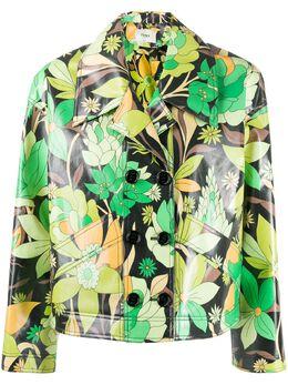 Fendi укороченная куртка с цветочным принтом FJ7079AC4S