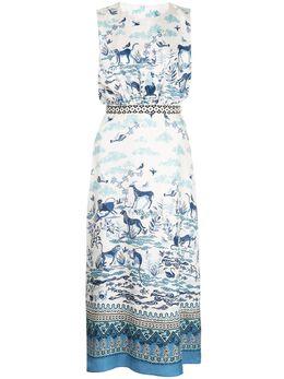 Saloni платье миди Fleur с принтом 10361