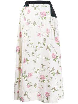 Marine Serre расклешенная юбка с цветочным принтом SU020SS20WCO