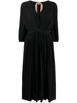 No. 21 расклешенное платье с V-образным вырезом 20EN2M0H2315111