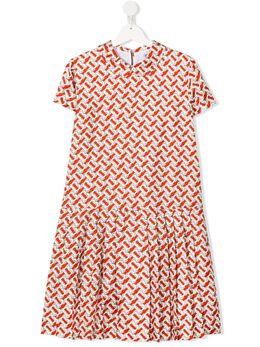Burberry Kids платье с логотипом и плиссированным подолом 8026381