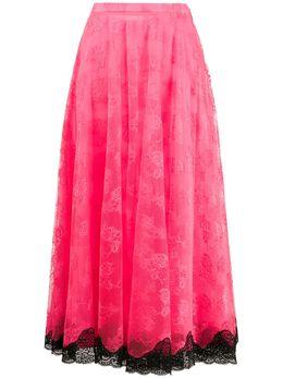 Christopher Kane кружевная юбка со складками SS20SK1291CHANTILLYLACENEONPINK