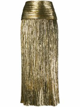 Saint Laurent плиссированная юбка с эффектом металлик 615548Y010R