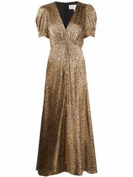 Saloni платье с V-образным вырезом и леопардовым принтом 17641390